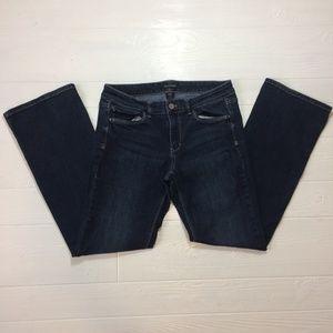 WHBM Blanc Boot Cut Jeans Dark Stretch Denim SZ 8S